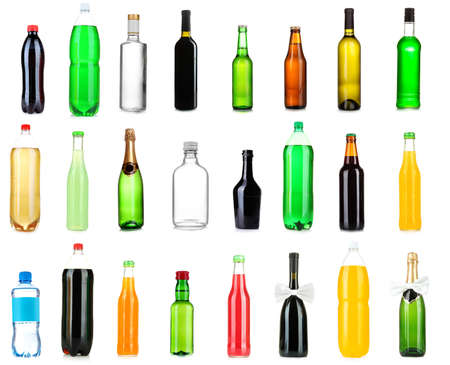 Collage of different bottles of liquids photo