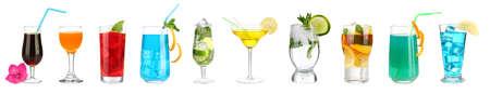 Lot de différents cocktails et boissons isolé sur blanc Banque d'images - 21977666