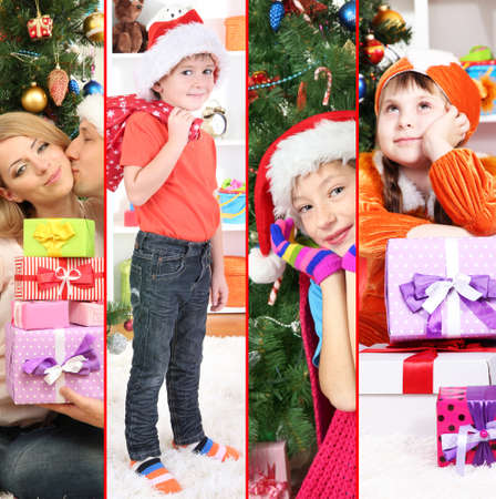 Collage of happy family celebrating Christmas at home photo