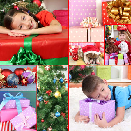 miracle tree: Collage of celebrating Christmas at home Stock Photo
