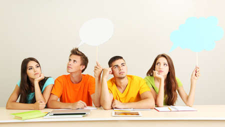 highschool: Group of young students sitting in the room