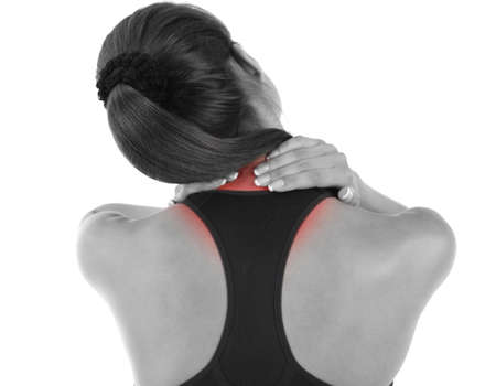 Young girl and pain in neck isolated on white photo