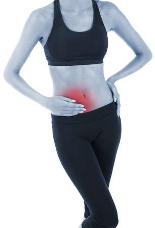 Abdominal pain isolated on white photo