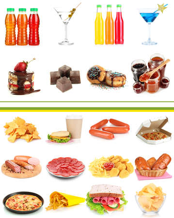 Collage of different unhealthy food photo