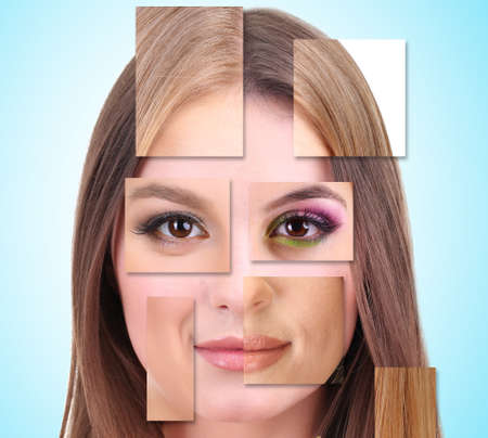 several: Human female face made of several different people,artistic concept