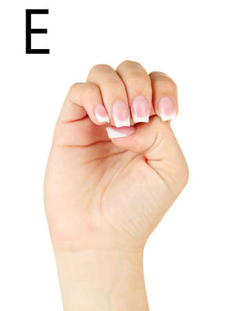 fingerspelling: Finger Spelling the Alphabet in American Sign Language (ASL). Letter E