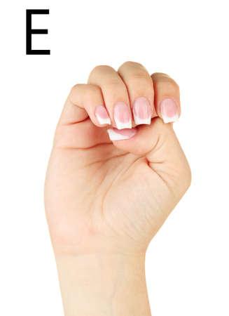 fingerspelling: Finger Spelling the Alphabet in American Sign Language (ASL). Letter E