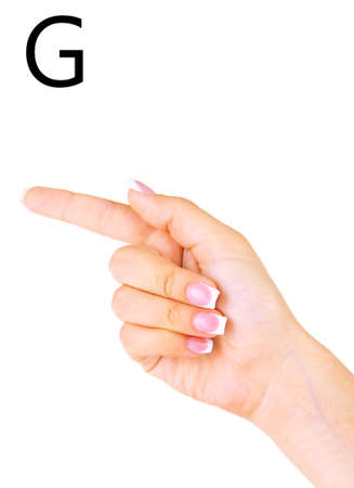 fingerspelling: Finger Spelling the Alphabet in American Sign Language (ASL). Letter G Stock Photo