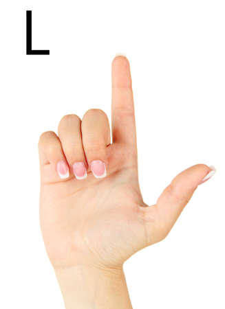 fingerspelling: Finger Spelling the Alphabet in American Sign Language (ASL). Letter L