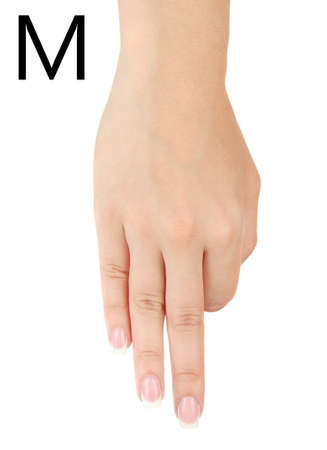 fingerspelling: Finger Spelling the Alphabet in American Sign Language (ASL). Letter M Stock Photo
