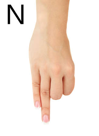 fingerspelling: Finger Spelling the Alphabet in American Sign Language (ASL). Letter N