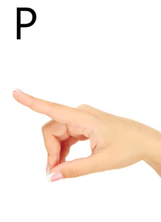 fingerspelling: Finger Spelling the Alphabet in American Sign Language (ASL). Letter P Stock Photo