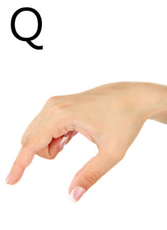 fingerspelling: Finger Spelling the Alphabet in American Sign Language (ASL). Letter Q