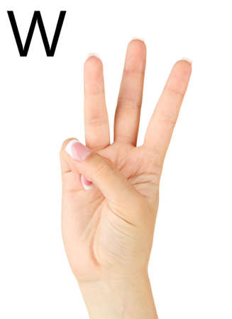 fingerspelling: Finger Spelling the Alphabet in American Sign Language (ASL). Letter W Stock Photo