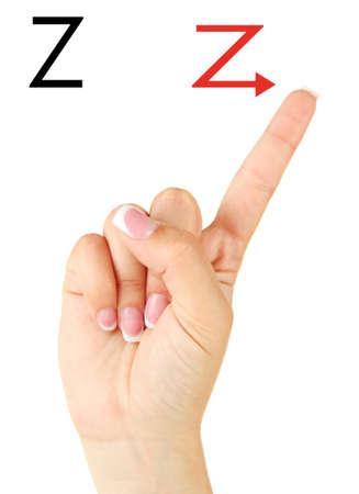 fingerspelling: Finger Spelling the Alphabet in American Sign Language (ASL). Letter Z