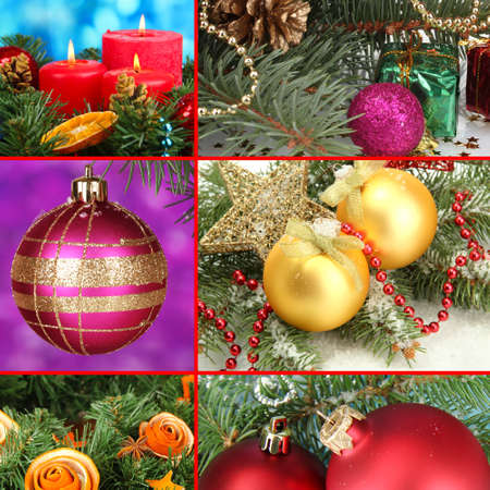 Collage of Christmas decorations photo