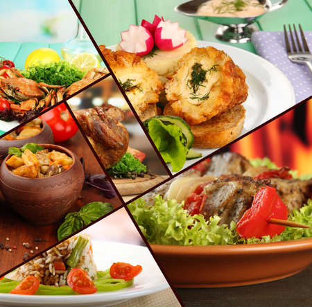 Collage of tantalizing culinary dishes photo