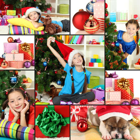 Collage of celebrating New Year at home Stock Photo - 23254729