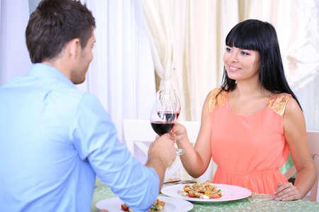 Beautiful couple having  romantic dinner at restaurant Stock Photo - 22370299