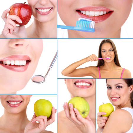 oral health: Collage of photographs on the theme of healthy teeth