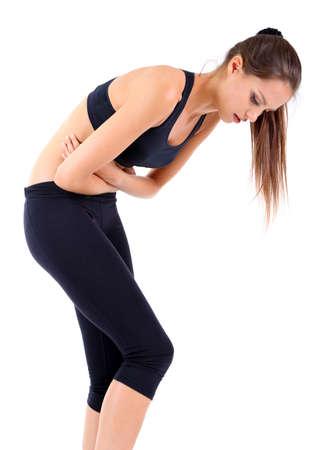the diarrhea: Dolor abdominal aislado en blanco