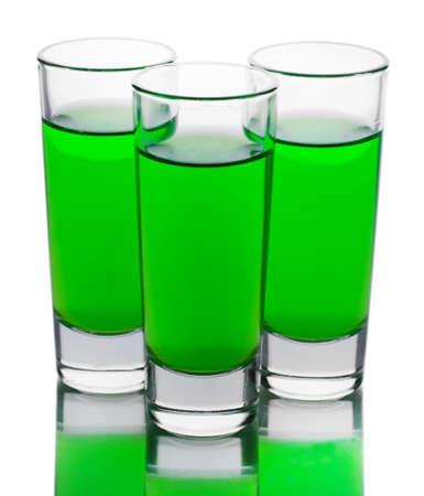 Trois verres d'absinthe isol? sur blanc Banque d'images - 22100593