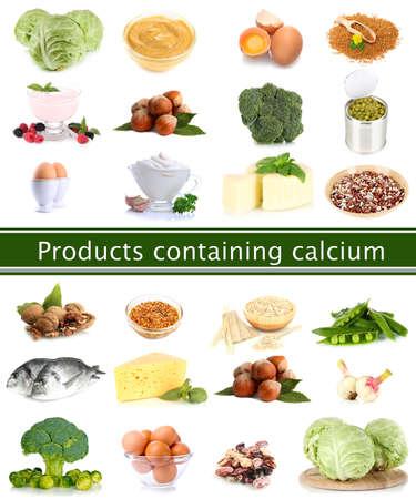 calcium: Collage of products containing calcium