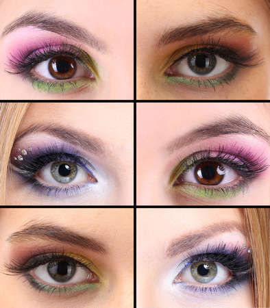 Collage of different eye make-up photo