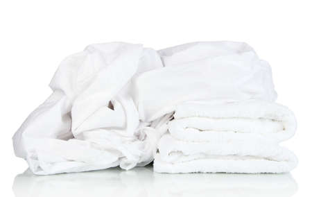 Bedding sheets and towels isolated on white Stock Photo - 22182158