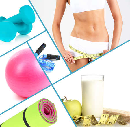 Collage about sport, dieting and healthy eating photo
