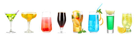 intoxicate: Lot of different cocktails and drinks isolated on white