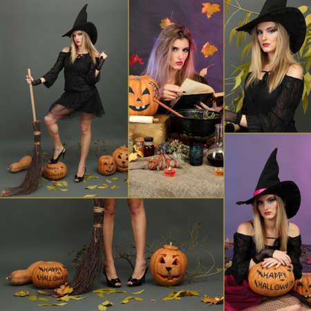 escoba: Collage de Halloween de