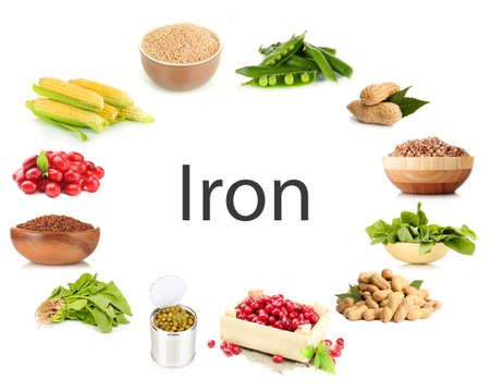 Collage of products containing iron photo