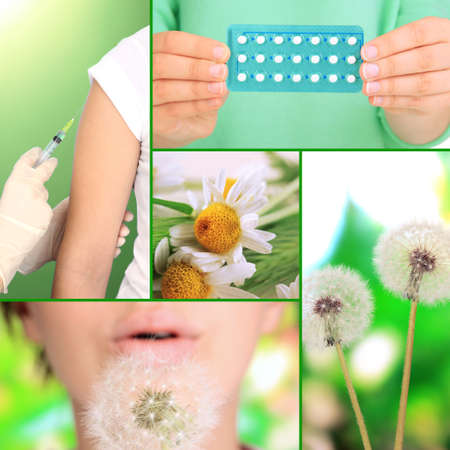 Collage of allergy theme photo