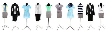 Collage of office clothes on mannequin  isolated on white photo