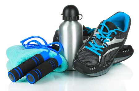 équipement: Différents outils pour le sport isolé sur fond blanc Banque d'images