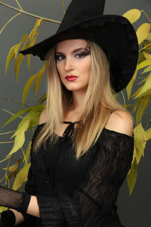 Halloween witch on gray background photo