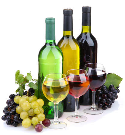 red wine bottle: bottles and glasses of wine and assortment of grapes, isolated on white