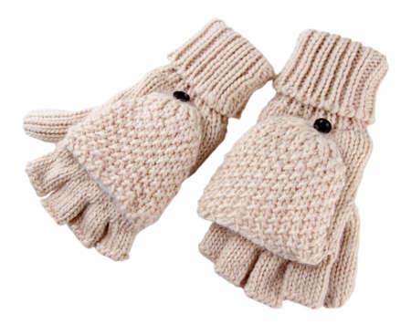 fingerless gloves: Wool fingerless gloves, isolated on white Stock Photo