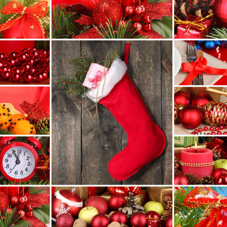 Collage of christmas time and decorations photo