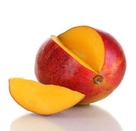 green mango: Ripe appetizing mango isolated on white