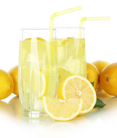 Delicious lemonade isolated on white Stock Photo - 22458823