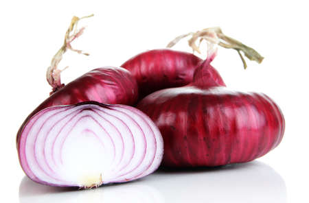 aftertaste: Fresh red onions isolated on white Stock Photo