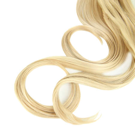 lock of hair: Curly blond hair close-up isolated on white