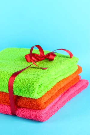 Towels tied with ribbon  Stock Photo