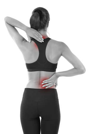 enhanced: Back pain in young girls isolated on white Stock Photo