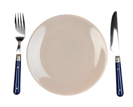 Knife, color plate and fork, isolated on white  Stock Photo - 22531080