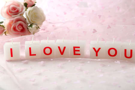 Candles with printed sign I LOVE YOU photo