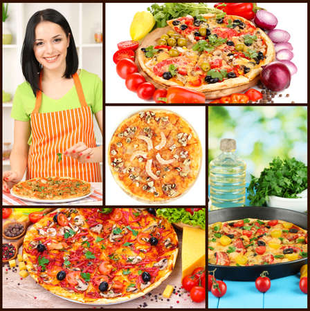 Collage of delicious pizza with ingredients photo