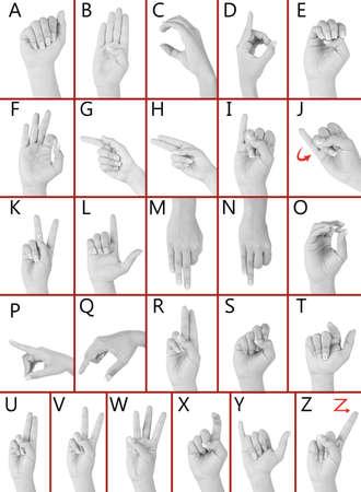 comunicacion no verbal: Dedo ortografía el alfabeto en lenguaje de señas americano (ASL). Alfabeto Foto de archivo